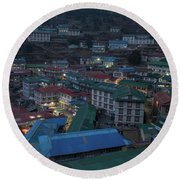 Round Beach Towel featuring the photograph Evening In Namche Nepal by Mike Reid