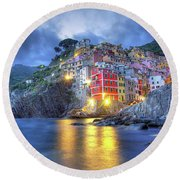 Evening In Riomaggiore Round Beach Towel