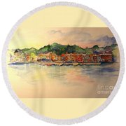 Evening In Skaneateles Round Beach Towel