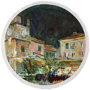 Evening In The Old Town Round Beach Towel