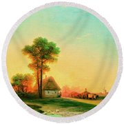 Evening In The Ukraine Round Beach Towel