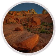 Evening In The Valley Of Fire Round Beach Towel