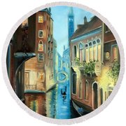 Evening In Venice Round Beach Towel
