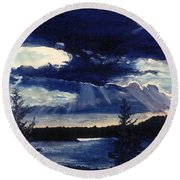 Evening Lake Round Beach Towel