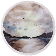Evening Light Round Beach Towel
