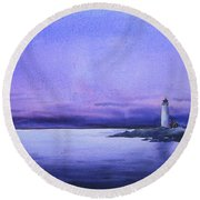 Evening Lighthouse Round Beach Towel by Samiran Sarkar