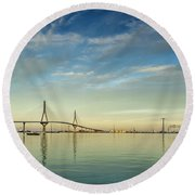 Evening Lights On The Bay Cadiz Spain Round Beach Towel