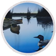 Evening Loons Round Beach Towel