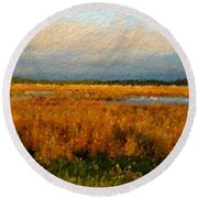 Evening Marsh Glow Round Beach Towel by Anthony Fishburne