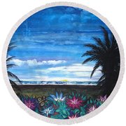 Tropical Evening Round Beach Towel by Mary Ellen Frazee