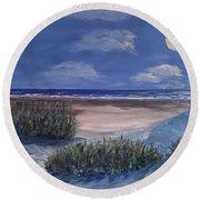 Evening Moon Round Beach Towel