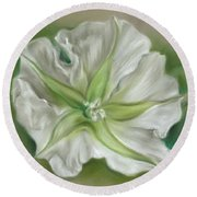 Round Beach Towel featuring the pastel Evening Moonflower by MM Anderson