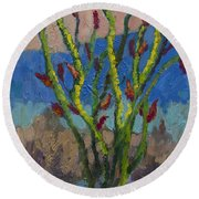 Evening Ocotillo Round Beach Towel
