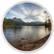 Evening On Stanley Lake Round Beach Towel
