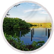 Evening On The Bayou Round Beach Towel