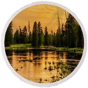 Round Beach Towel featuring the photograph Evening On The Henry's Fork  by TL Mair