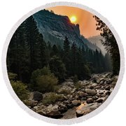 Evening On The Merced River Round Beach Towel