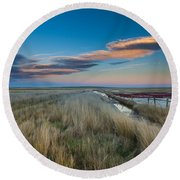 Round Beach Towel featuring the photograph Evening On The Plains by Fran Riley