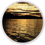 Evening Paddle On Amoeber Lake Round Beach Towel by Larry Ricker
