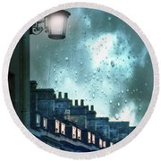 Evening Rainstorm In The City Round Beach Towel by Jill Battaglia