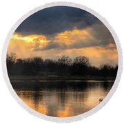Round Beach Towel featuring the photograph Evening Relaxation by Sumoflam Photography