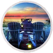 Round Beach Towel featuring the photograph Evening Romance by Debra and Dave Vanderlaan