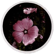 Evening Rose Mallow Round Beach Towel