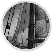 Evening Sail Bw Round Beach Towel