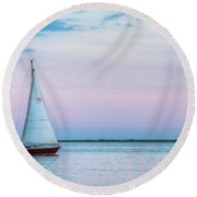 Evening Sail Round Beach Towel