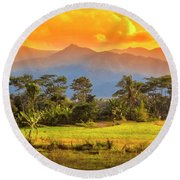 Evening Scene Round Beach Towel