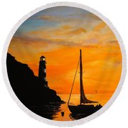 Round Beach Towel featuring the painting Evening Serenity by Alan Lakin