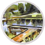Round Beach Towel featuring the painting Evening Shadows At Shepherd Mountain Lake by Kip DeVore