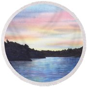 Evening Silhouette Round Beach Towel