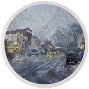 Evening Snowfall At Webster St Round Beach Towel