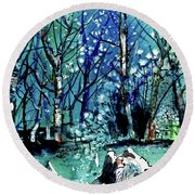 Evening Snowstorm Round Beach Towel