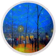 Evening Street Market Paris Round Beach Towel by Joe Gilronan