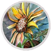 Evening Sun Flower Round Beach Towel by Mindy Newman