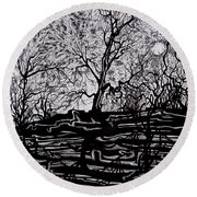 Round Beach Towel featuring the drawing Evening Sun Of Waterton by Anna  Duyunova