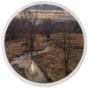 Evening Sun On The Creek Round Beach Towel