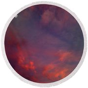 Evening Sunset Paints The Sky Round Beach Towel