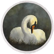 Evening Swan Round Beach Towel by Phyllis Howard