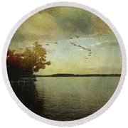 Evening, The Lake Round Beach Towel
