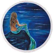 Evening Tide Mermaid Round Beach Towel