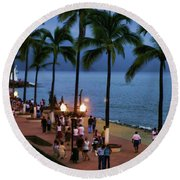 Evenings On The Malecon Round Beach Towel
