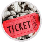 Event Ticket Lying On Pile Of Popcorn Round Beach Towel