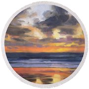 Round Beach Towel featuring the painting Eventide by Steve Henderson