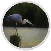 Ever Vigilant - The Great Blue Heron Round Beach Towel