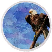 Round Beach Towel featuring the photograph Ever Watchful by Geraldine DeBoer