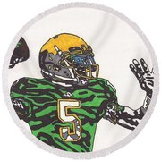 Everett Golson 1 Round Beach Towel by Jeremiah Colley