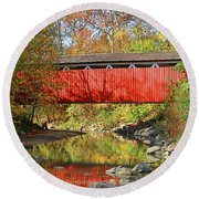 Everett Road Covered Bridge  5860 Round Beach Towel
